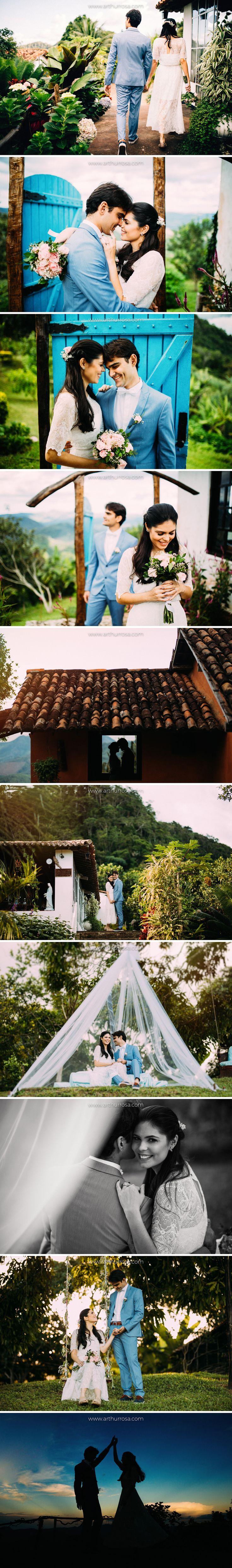 fotos inspiração de sessão pré-casamento noivo de terno azul e noiva de vestido de renda