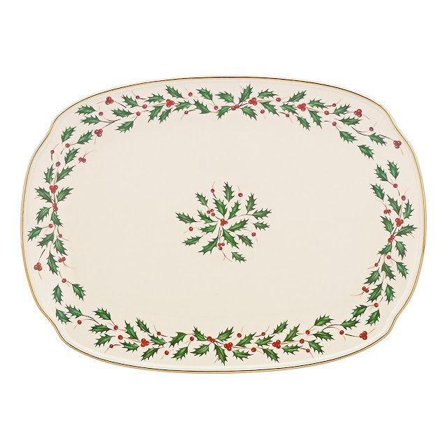 This Lenox Holiday Oblong platter is crafted from porcelain and accented with 24 karat gold.  This is a generously sized platter and is dishwasher safe.