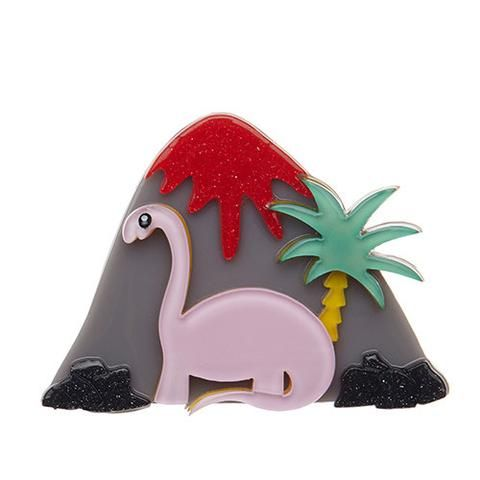 "Erstwilder Limited Edition Jurassic Thunder Brooch. ""It can be hard to sneak up on people when you're this big. In fact the only thing louder than me is this erupting volcano."""