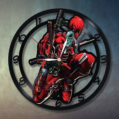 Deadpool Handmade Art Home Decor Wall Clock Figures Marvel