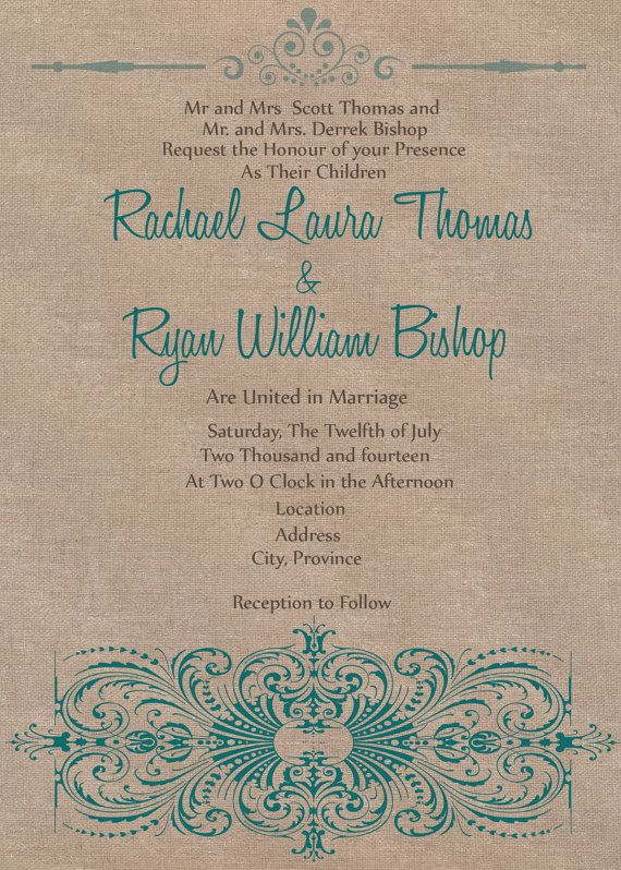 Digital File - Rustic Chic Wedding invite Teal on Etsy, $20.00 CAD