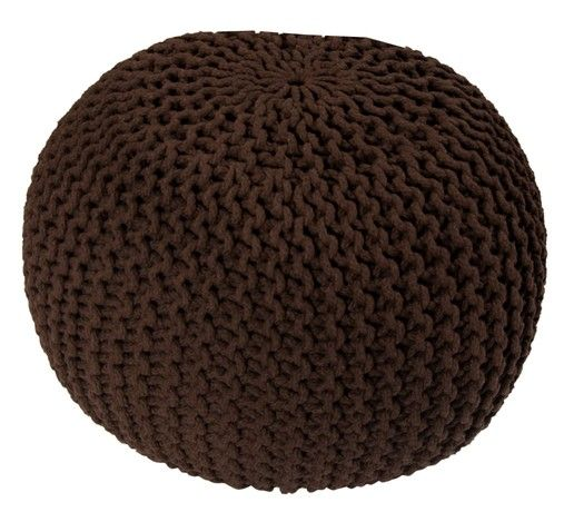 EHC 100 Percent Cotton Round Handmade Double Knitted Foot Stool with Braided Cushion Pouffe, Choclate
