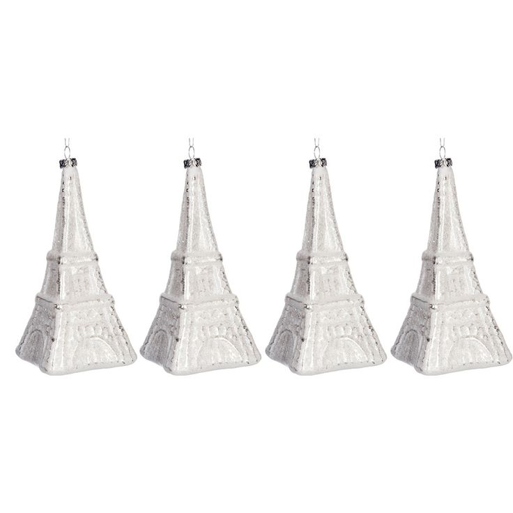 The Seasonal Aisle 4 Piece Eiffel Tower Glass Shaped Ornament Set