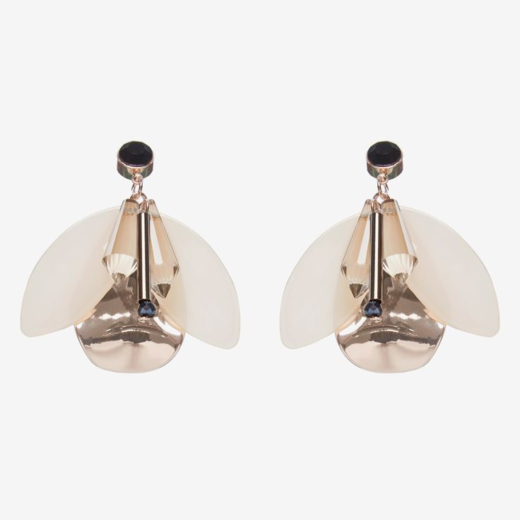The French Connection Butterfly Earrings  In rose gold paired with the palest of pinks, black and a touch of red  these will add a touch of glamour to your look. 70%ACRYLIC 30%METAL