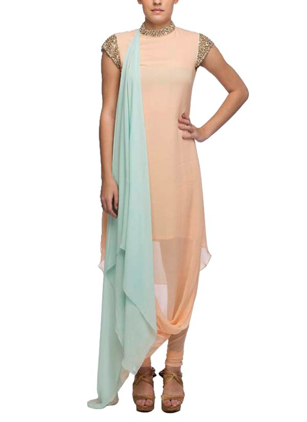 Indian Fashion Designers - Nidhika Shekhar - Contemporary Indian Designer - Salwars - NS-SS15-NSS039 - Peach and Turquoise Draped Suit