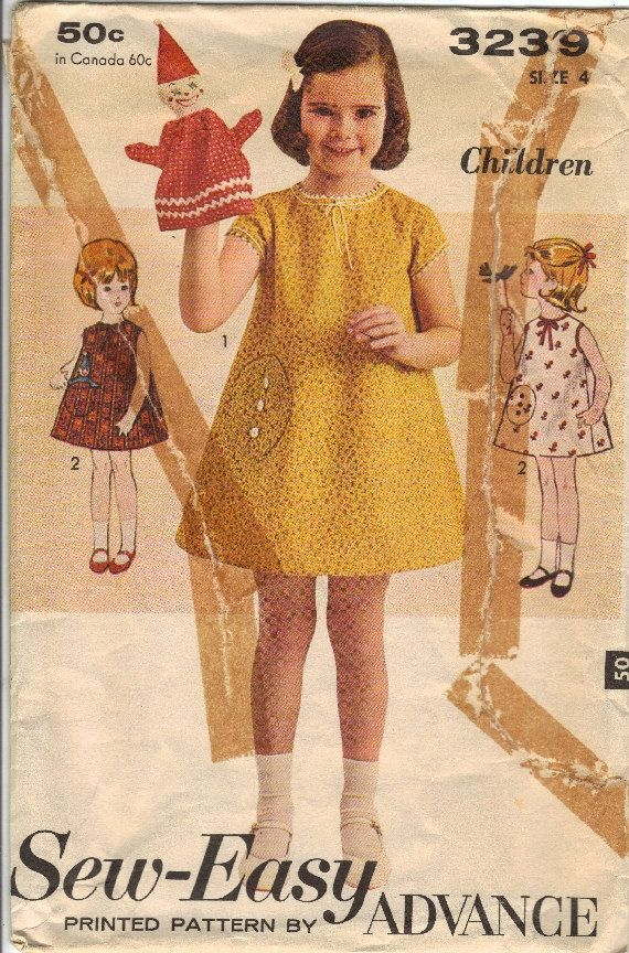 Vintage SewEasy 3239 Printed Pattern by Advance Girls by NookCove, $4.99