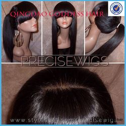 Online Shop Ponytail lace human hair wig glueless full lace wig&lace front wig with full bang silky straight 130% density Brazilian wigs Aliexpress Mobile