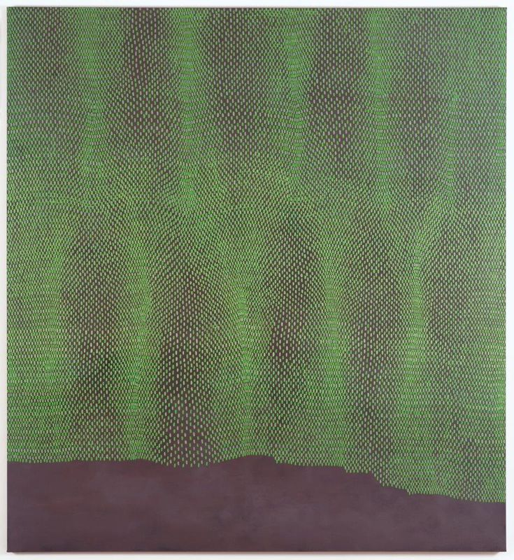 from interview with artist Michele Theunissen, imperfect consonance, 2006, , acrylic, metallic powders, found pigment, oil on Belgian linen, 198x182cms, Holmes a Court Collection