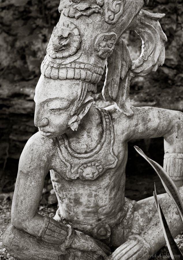 Statue of an Ancient Mayan Warrior or Priest - Riviera Maya, Mexico   #Mexico #Maya #Cancun