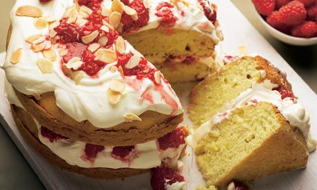 Almond layer cake with crushed raspberries recipe   Dan Lepard   Baking