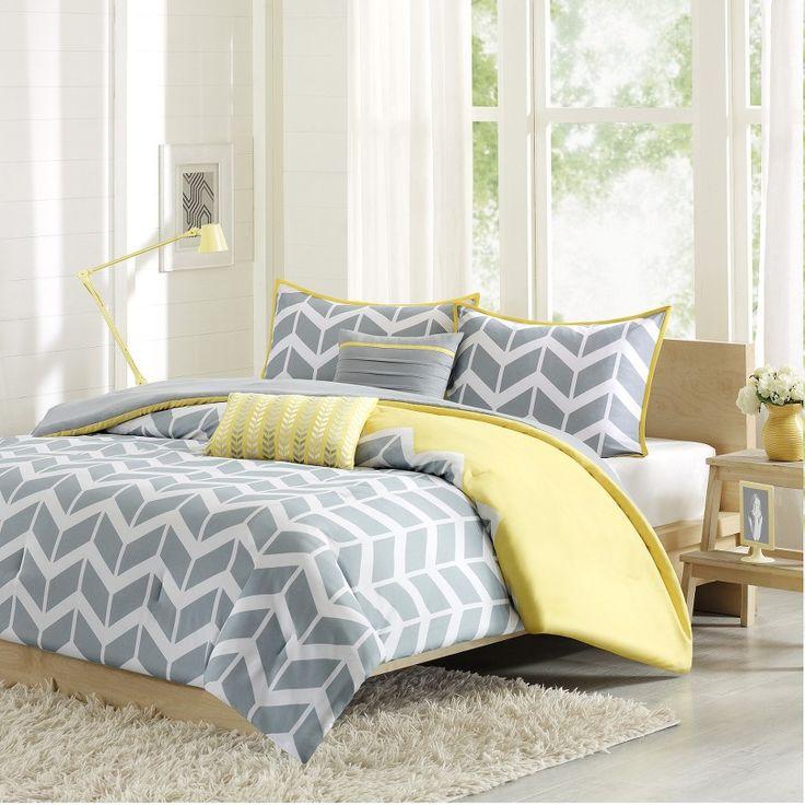 Darcy Chevron Bedding Set. Gray chevron with a bright pop of yellow color!