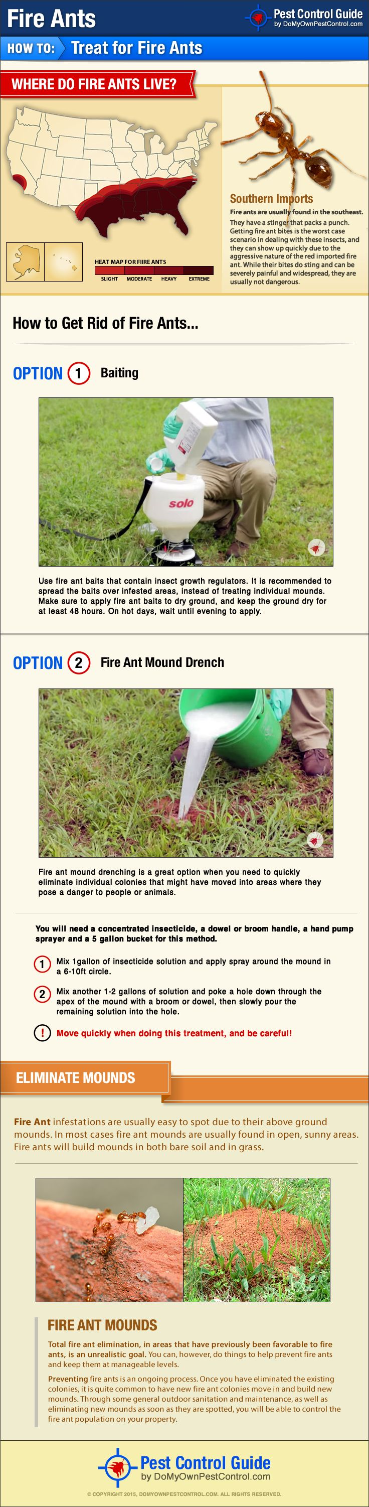 Learn how to get rid of fire ants yourself with the new DIY fire ant treatment guide from DoMyOwnPestControl.com.