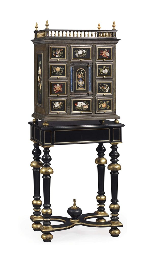 An Italian Ormolu And Pietre Dure Mounted Ebony Cabinet On Stand ~ Late  Century ~ The Stand Later