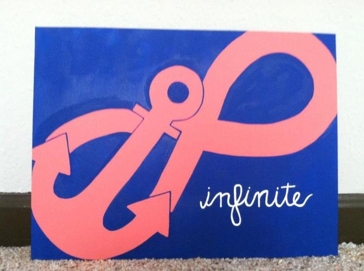 Custom Infinity Anchor Canvas. $25.00, via Etsy. My sister needs this...OMIGOD DELTA GAMMA
