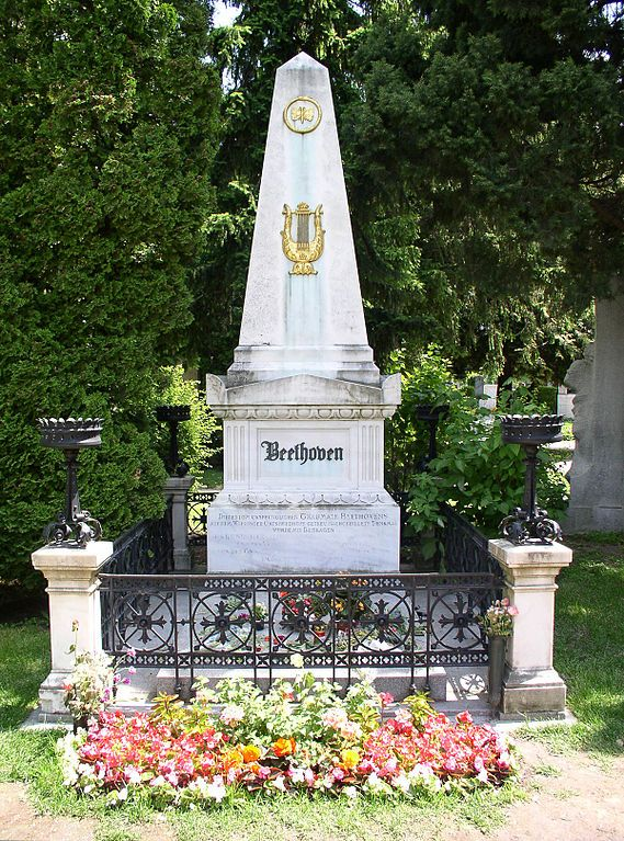 Grave Marker- Beethoven -- Beethoven was originally buried at Wahringer Friedhof. That cemetery was closed in the 1870's. Both Beethoven and Franz Schubert (who was buried next to his idol) were transferred to Zentralfriedhof.