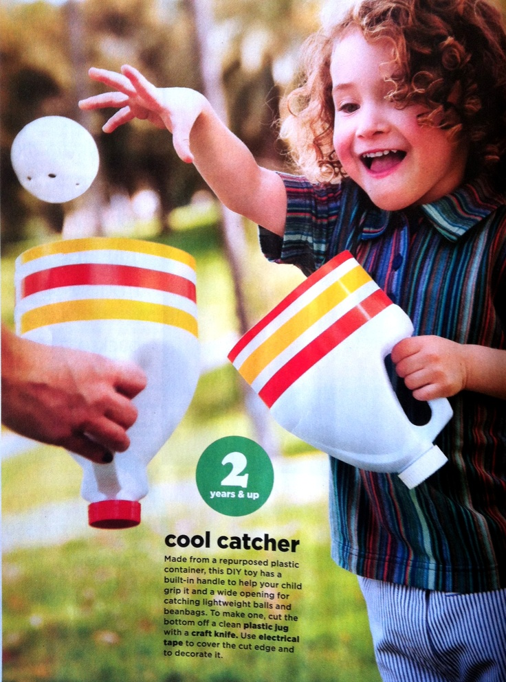 Cool catcher: cut bottom off clean plastic jug, cover cut edge with electrical tape and decorate. (Family Fun Magazine)
