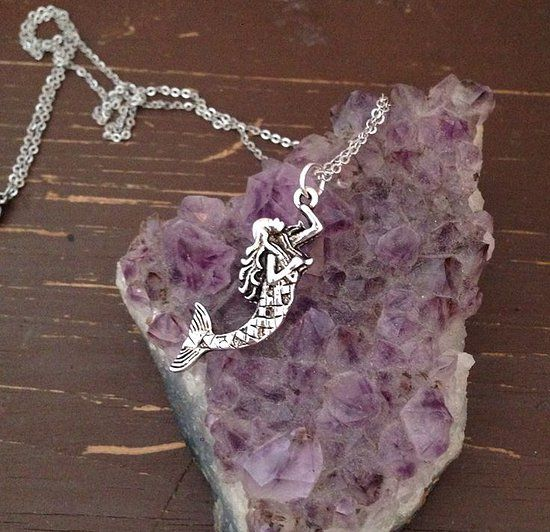 The Mystic Peach Mermaid Necklace, hipster/grunge fashion accessory. so cute. mermaids. gemstones. magic. witchcraft. hippie.