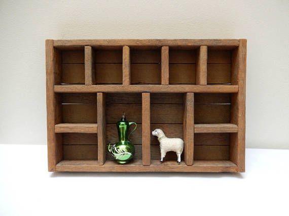 Small Wooden Curio Shelf Wall Hanging Display Shelf Reclaimed