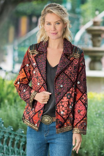 """This striking jacket is an exotic mélange of color and texture. With dangling coins, tiny mirrors, gold paillettes and sequins, beading and embroidery, it embodies a worldly look. Single-button closure, notched lapels and full lining. Cotton. Misses 26-1/2"""" long.  Berber Jacket - Item #29459"""