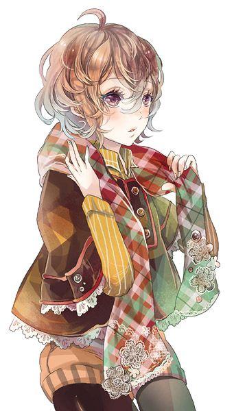 ✮ ANIME ART ✮ clothes. . .cute fashion . . .jacket. . .scarf. . .lace. . .shorts. . .short hair. . .curls. . .tights. . .cute. . .kawaii
