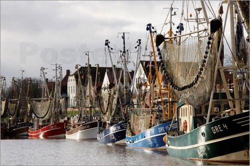shrimp boat   -    fischerboote,  Greetsiel, Hafen, fischerdorf,  Fischerhafen,  Kai,  Krabbenfischer, Hafenbecken, Ostfriesland,  Netze,  Meer,  Anleger    ,Kutter, Krabbennetze, Fischerei, Krabben, boote, Dorf,  Nordsee,  Krabbenkutter,  schiffe,  Häfen,  Schiffe