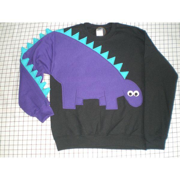 Dinosaur Sweatshirt Dinosaur Shirt With Spikey Tail Sleeve Adult... ($50) ❤ liked on Polyvore featuring tops, hoodies, sweatshirts, grey, women's clothing, sweat tops, grey sweatshirt, gray shirt, turquoise tops and turquoise sweatshirt