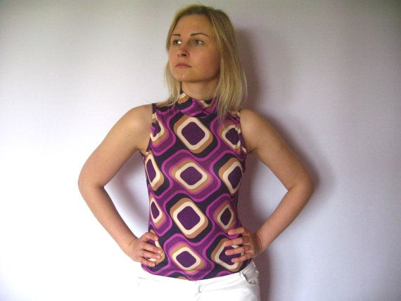 Vintage Women Disco Club Blouse For Party Celebration Tank Type With Purple Gold…