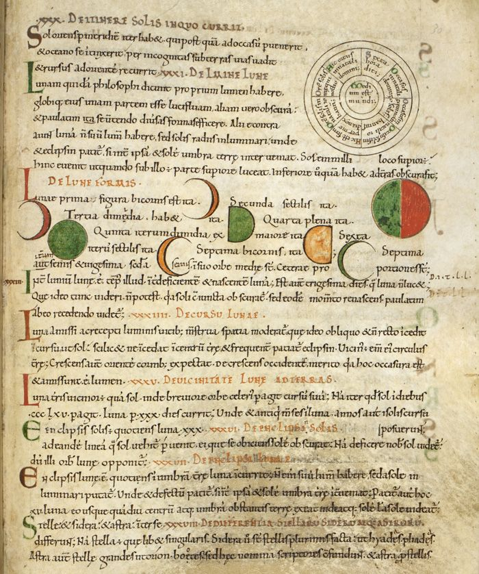 """Diagrams of the path of the Sun and the phases of the moon; from Isidore of Seville, Etymologies, England, last quarter of the 11th century, Royal 6 C. i, f. 30r."""
