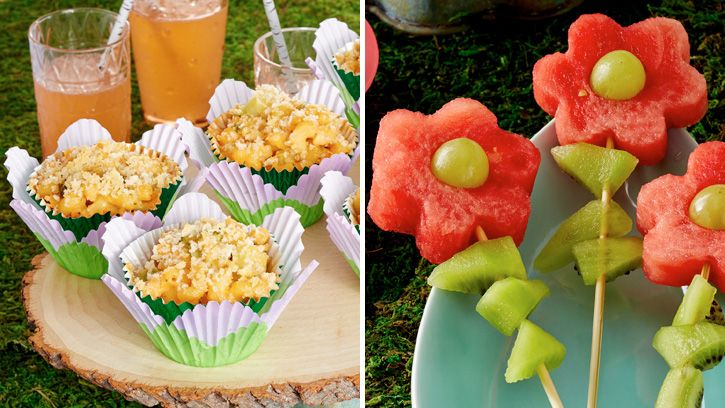 Mac and Cheese Cups and Fruit Flowers http://www.bettycrocker.com/menus-holidays-parties/mhplibrary/birthdays/fairy-garden-birthday-party