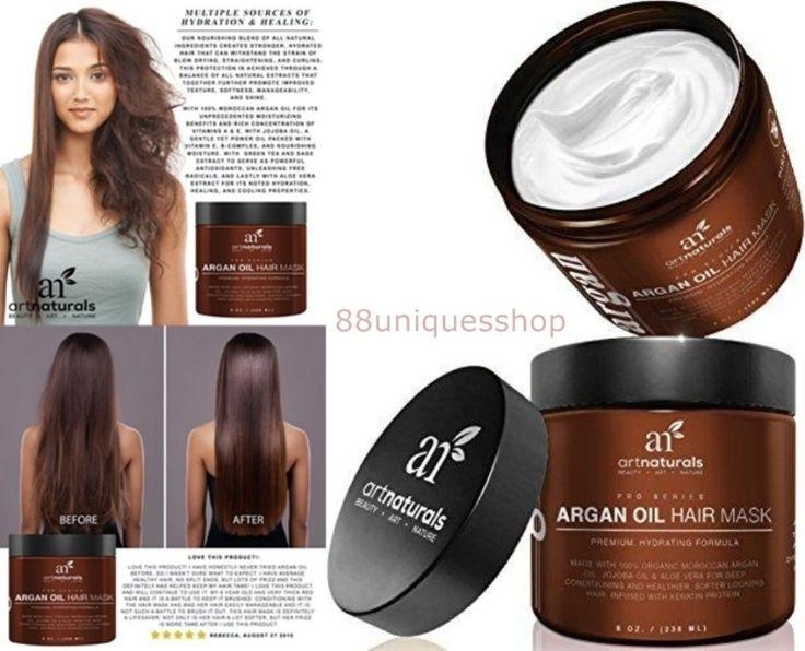 Argan Oil Deep Conditioning Hair Mask Treatment 100% Organic Jojoba Oil, Keratin #ArtNaturals