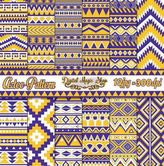 12 nahtlose aztekischen Digital Papier, lila, gelb, Gold, Ikat, geometrische Muster, Indianer, Navajo, Pfeile, kommerzielle Nutzung