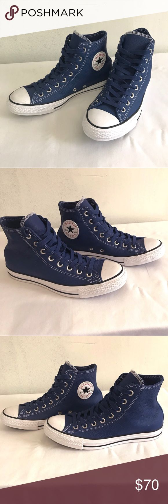 Converse Chuck Taylor • NWOT Leather Sneakers Blue leather high top sneakers by Converse Chuck Taylors. New without tags. Unisex. Women's size 9. Men's size 7. Converse Shoes Athletic Shoes