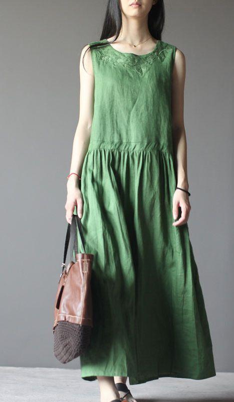 Be true to the inside of you. Tea green retro linen sundress plus size summer maxi dresses 2016 new design