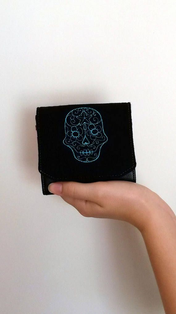 Embroidered Skull Purse Skull Coin Purse Small Purse Coin