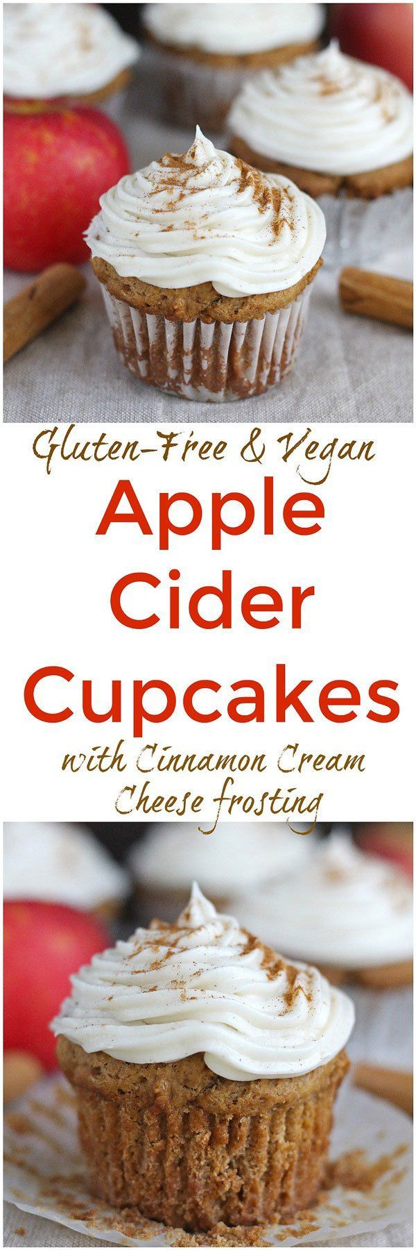 Apple Cider Cupcakes [Gluten-Free / Vegan] - Full of fresh apple flavor and topped with a delicious cinnamon cream cheese frosting, these Apple Cider Cupcakes are gluten-free and vegan!