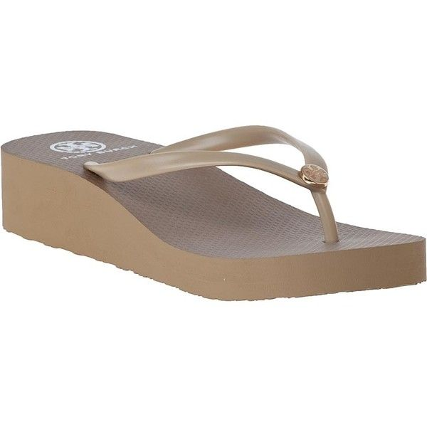 TORY BURCH Wedge Enamel Flip Flop Khaki ($65) ❤ liked on Polyvore featuring shoes, sandals, flip flops, khaki rubber, wedge shoes, platform flip flops, tory burch, tory burch flip flops and wedge heel shoes