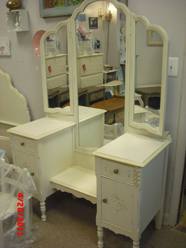 tri fold mirror vanity vintage painted and distressed. Please see our vintage shabby chic unfinished furniture board for available pieces. These are pictures of past projects and are not available