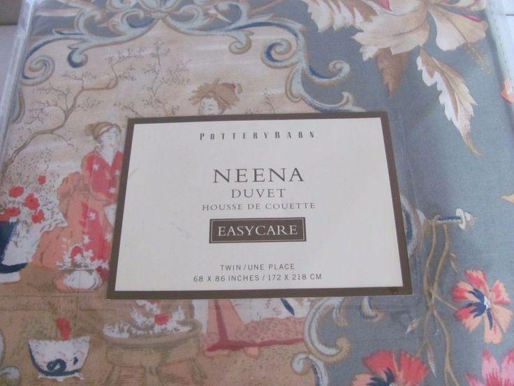 POTTERY BARN TWIN DUVET COVER & SHAM SET NANETTE-PALAMPORE Floral Japanese Toile | eBay