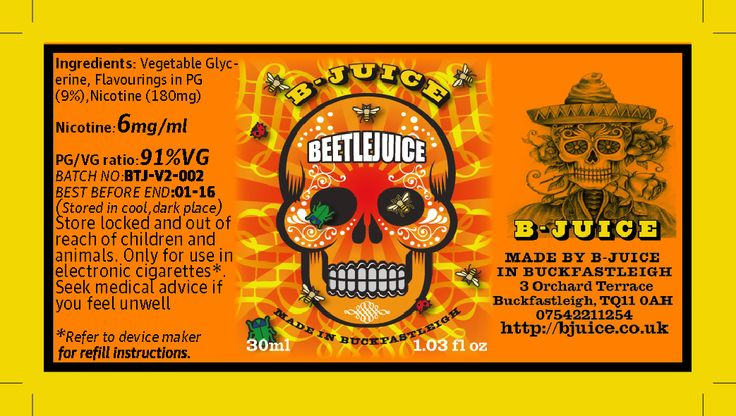 The Day of The Dead inspired this Juice, Southern US fermentation cured Perique tobacco dominates, with it's earthy flavours of despair, graves, and raw opium. Brother Juice lifted this with a cinnamon heat and a sharp spike of lime, combining dark and light, sweet and bitter, life and death. http://bjuice.co.uk/product/beetlejuice-limited-edition/