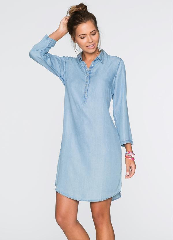 Chemise em Jeans Azul - Compre em até 5X sem juros na loja Bonprix , veja nossas condições para Frete Grátis. | roupa jeans in 2019 | Dresses, Dress skirt, Jeans dress