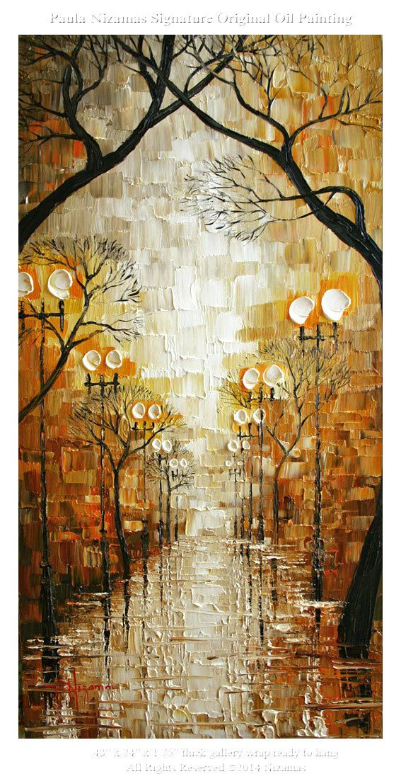 Rainy Day ORIGINAL 48 Abstract Contemporary Oil by Artcoast, $420.00