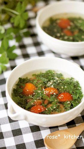 ヘルシー☆モロヘイヤとトマトのスープ