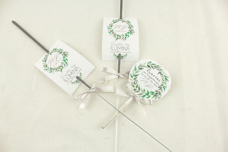 Porta bengalas y piruletas de agradecimiento que harán de la boda un momento aún más especial