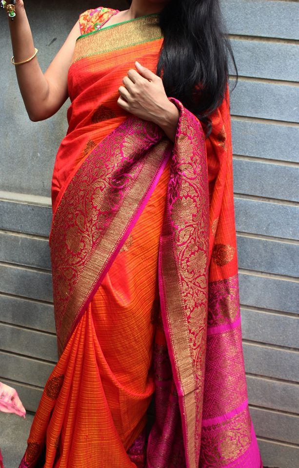 Bright orange banaras dupion silk saree with contrast border with antique gold zari