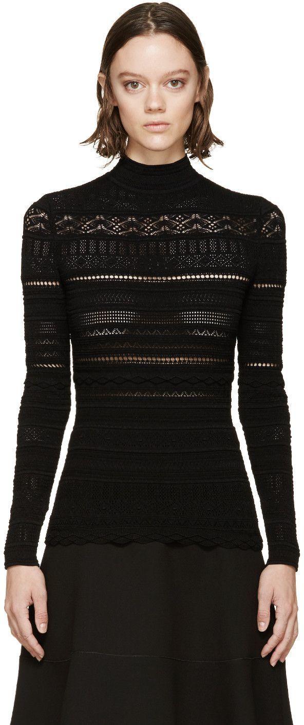 Alexander mcqueen black lace knit turtleneck alexandermcqueen