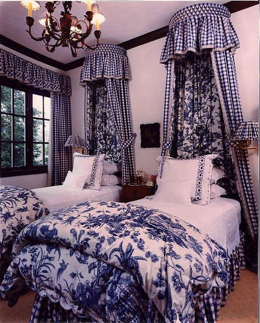 Adorable blue and white guest room. I would have to paint the walls an apple green, and the ceiling, but that's just me!