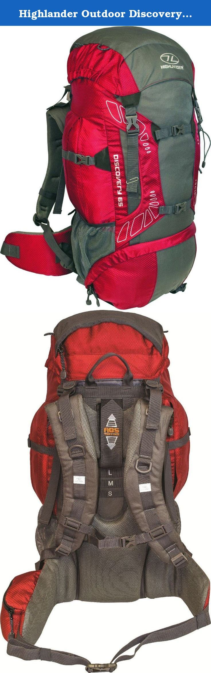 Highlander Outdoor Discovery 65-Liter Rucksack, Red. The Discovery 65L is a lightweight trekking rucksack with an adjustable back system, padded hip belt and shoulder straps. With a large main compartment with draw cord divider you can pack away gear and have ease of access. The bag also features multiple outer pockets, walking/ice axe loop and lid storage compartment. Ideal for hillwalking or climbing and has a highly visible integrated rain cover for extra protection. 240D Hex Ripstop...