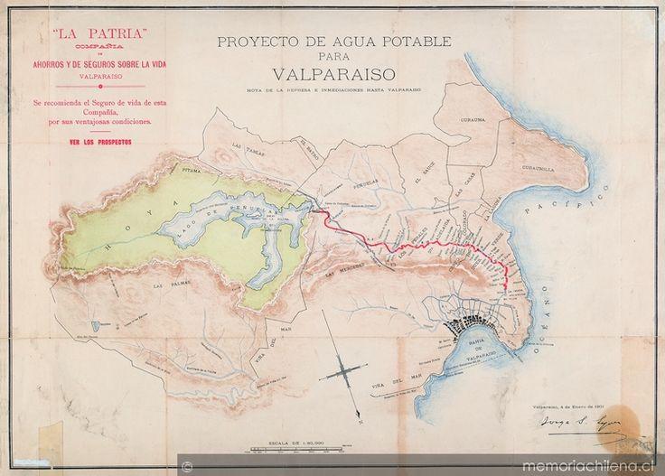 Proyecto de agua potable para Valparaíso, 1901: hoya de la represa e inmediaciones hasta Valparaíso desde Peñuelas