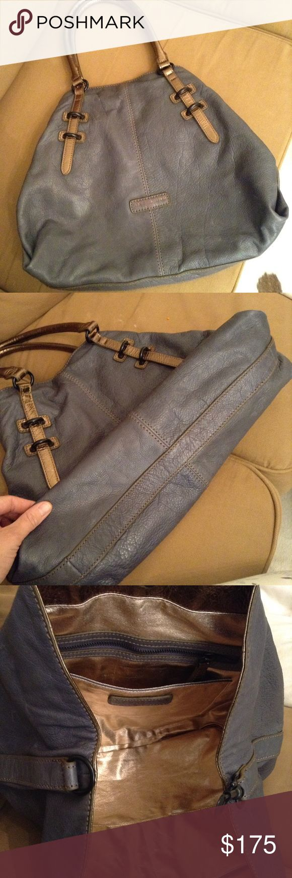 🎉HP🎉Liebeskind Shopper Tote Beautiful bag, worn only a few times. Dusty blue, metallic bronze handles. Lovely shape. Liebeskind Bags Totes