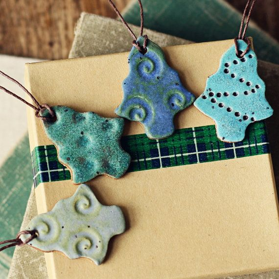 Funky Trees Handmade ceramic christmas ornaments by kylieparry- holiday packaging tags